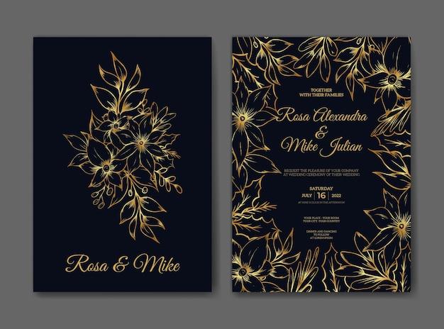 Свадебные приглашения с рисованной эскиз наброски цветочные роскоши