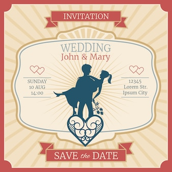 Wedding  invitation card with just married bride and groom silhouettes