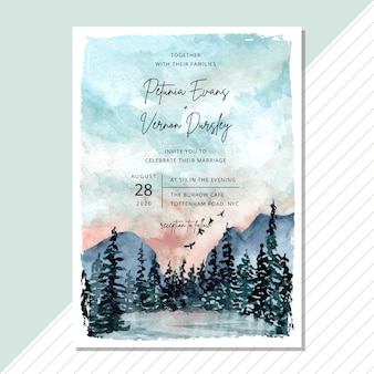 Wedding invitation card with landscape watercolor template