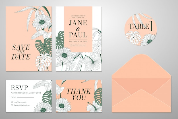 Wedding invitation card with leaf & floral background