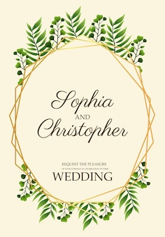 Wedding invitation card with leafs in golden frame  illustration
