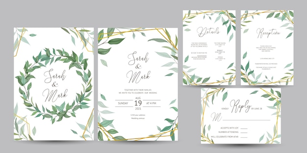 Wedding invitation card with leaves design