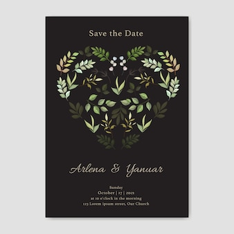 Wedding invitation card with leaves love vector