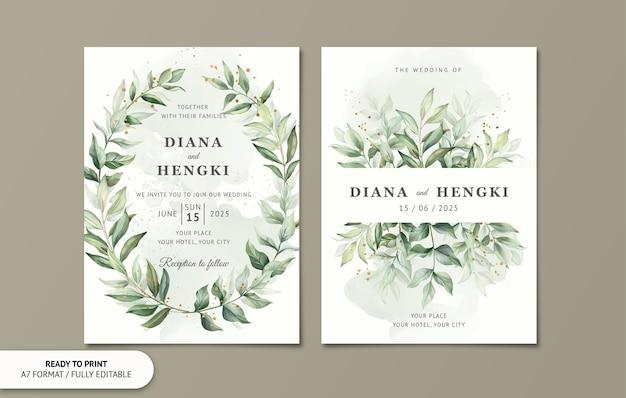 水彩画の葉と結婚式の招待カード