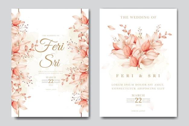 수채화 잎 결혼식 초대 카드