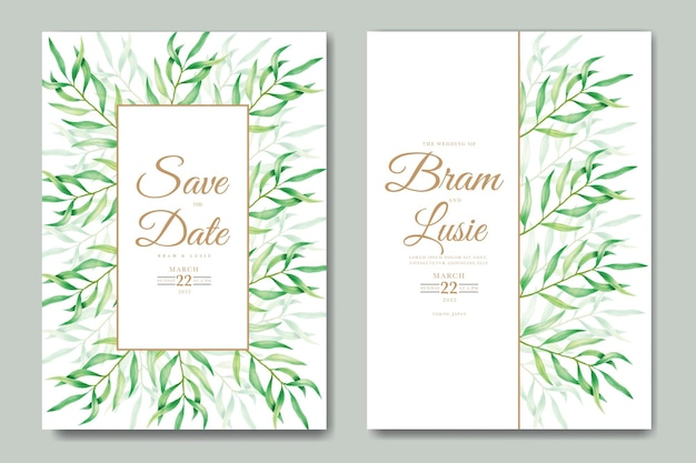Wedding invitation card with leaves watercolor