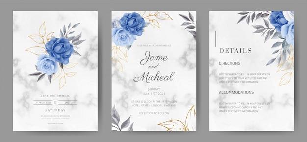 대리석 배경으로 결혼식 초대 카드입니다. 네이비 블루 로즈 색상. 수채화 물감. tamplate 카드 세트.
