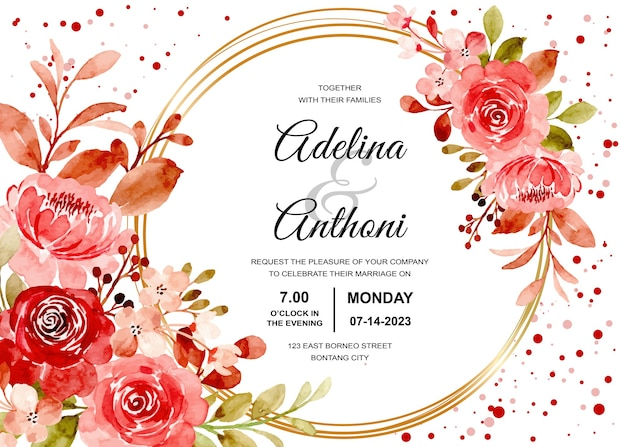 Wedding invitation card with maroon rose floral watercolor