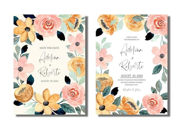 복숭아 크림 꽃 수채화와 결혼식 초대 카드