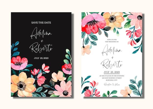 복숭아 핑크 꽃 수채화와 결혼식 초대 카드