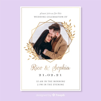 Wedding invitation card with photo