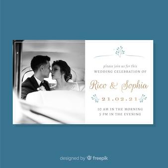 Wedding invitation card with photo