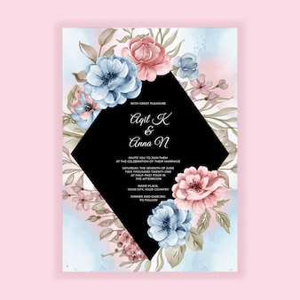 Wedding invitation card with pink blue flowers
