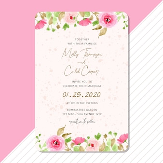 Wedding invitation card with pink floral border watercolor