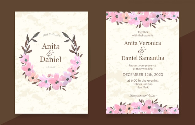 Wedding invitation card with pink floral watercolor set