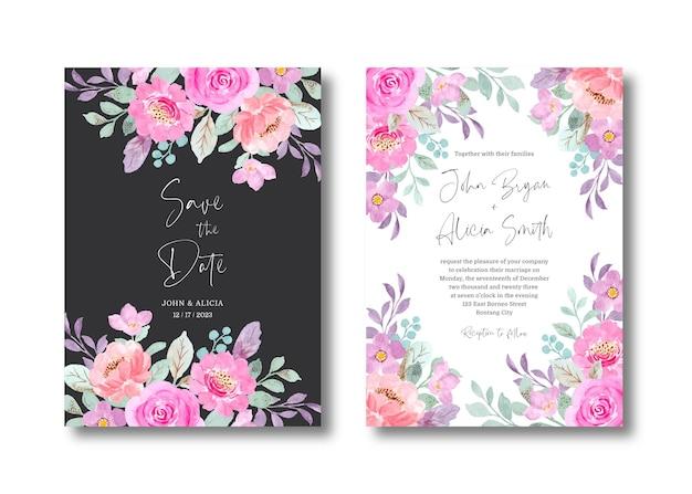핑크 꽃 수채화와 결혼식 초대 카드