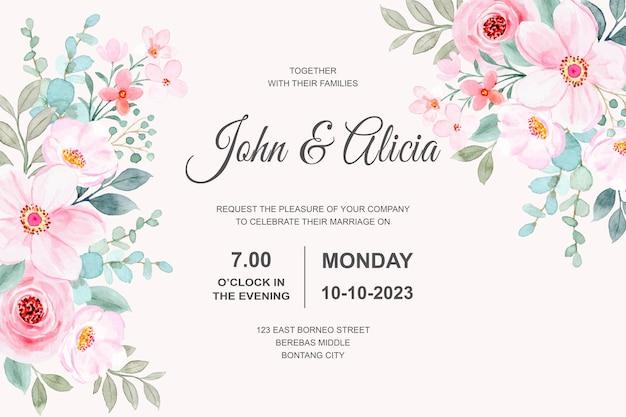 ピンクの花の水彩画と結婚式の招待カード