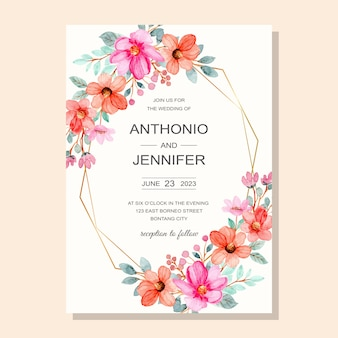 핑크 꽃 수채화 결혼식 초대 카드