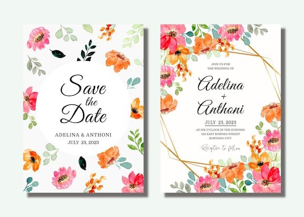 핑크 오렌지 꽃 수채화와 결혼식 초대 카드