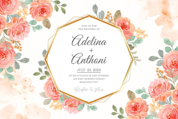 Wedding invitation card with pink orange watercolor roses