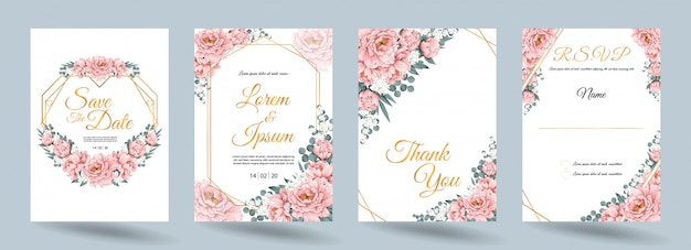 Wedding invitation card with pink paeonia flowers and gold frame
