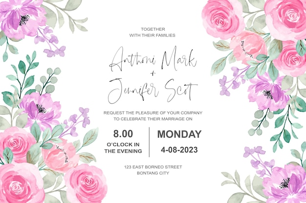 Wedding invitation card with pink purple watercolor floral
