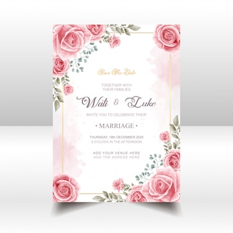 Wedding invitation card with pink rose flower watercolor style