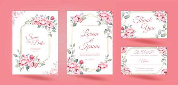 Свадебные приглашения с розовыми розовыми цветами эвкалипта оставить и золотую рамку на белом фоне. акварельный рисунок.