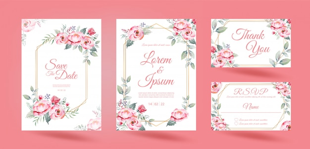Wedding invitation card with pink rose flowers eucalyptus leave and gold frame on white background.  watercolor drawing.