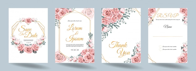 Wedding invitation card with pink rose flowers and gold frame