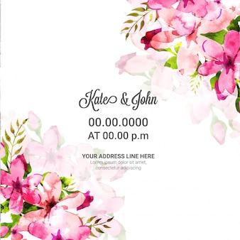 Свадебная пригласительная открытка с розовыми акварельными цветами.