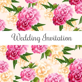 Wedding invitation card with pink and white peonies in background.