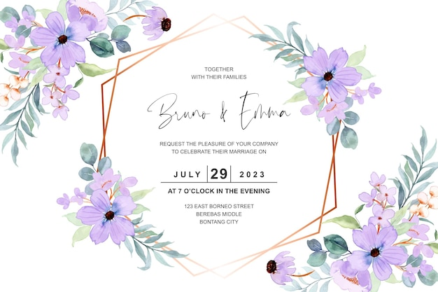 Wedding invitation card with purple flower watercolor