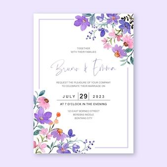 보라색 야생화 수채화와 결혼식 초대 카드