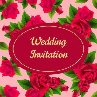 結婚式の招待状、赤いバラ、ピンクの背景。