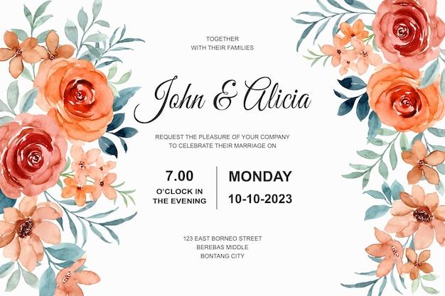 장미 꽃 수채화와 결혼식 초대 카드