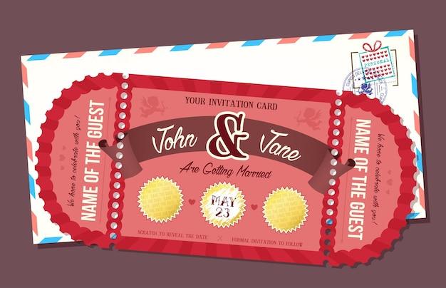 スクラッチオフ要素の結婚式の招待カード。レトロなスタイルのチケット。