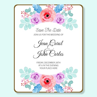 Wedding invitation card with soft blue and pink watercolor floral