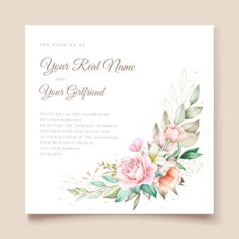 Wedding invitation card with soft green watercolor floral