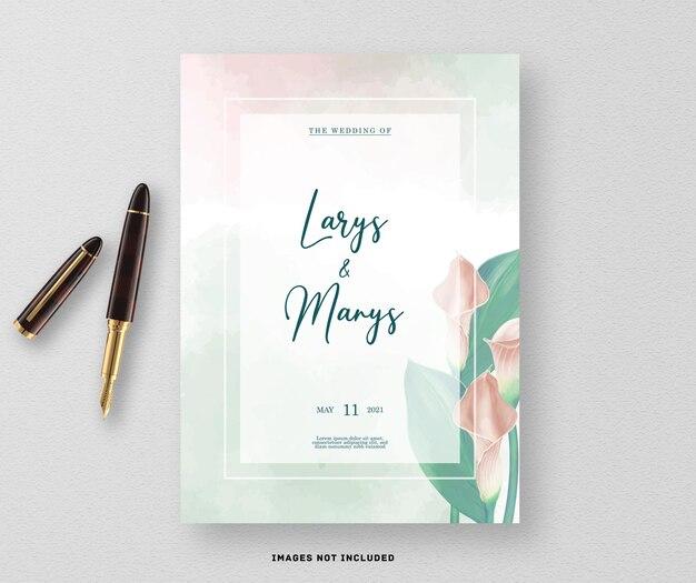 부드러운 백합 꽃과 결혼식 초대 카드
