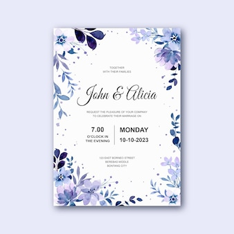Wedding invitation card with soft purple floral watercolor