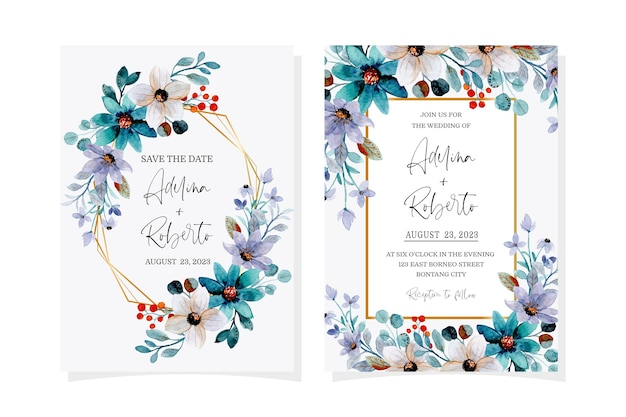 Wedding invitation card with soft purple green floral watercolor