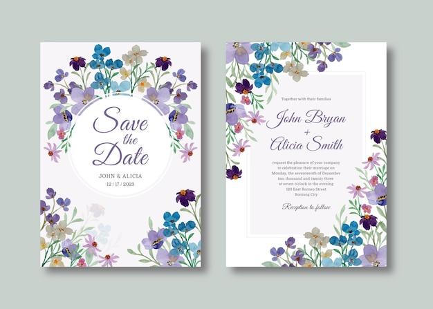 부드러운 wilf 꽃 수채화와 결혼식 초대 카드