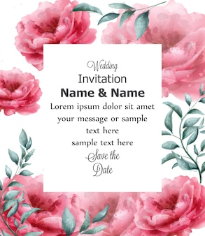 Wedding invitation card with spring flowers banner