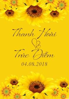 Wedding invitation card with sunflower