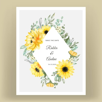 Wedding invitation card with sunflowers