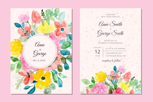 Wedding invitation card with sweet floral watercolor background