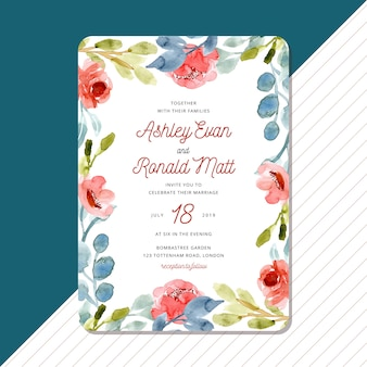 Wedding invitation card with sweet watercolor floral frame