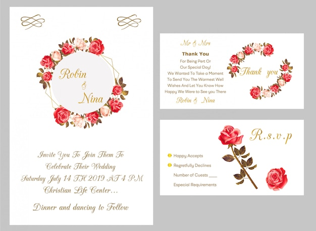 Wedding invitation card with thank you and rsvp