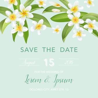 Свадебные приглашения с тропическими цветами